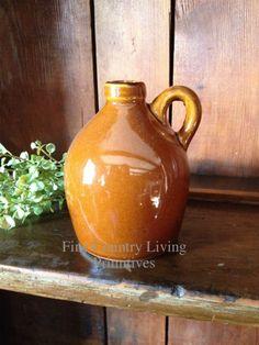 Primitive Mustard Ceramic Jug ~ Fine Country Living Primitives
