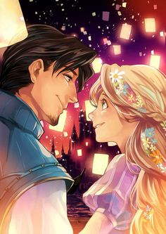 """I See The Light, by Umintsu. >> The characters Flynn and Rapunzel from the Disney movie """"Tangled,"""" in anime style! Disney Rapunzel, Tangled Rapunzel, Tangled Flynn, Tangled Castle, Disney And More, Disney Love, Disney Magic, Disney Kunst, Disney Fan Art"""