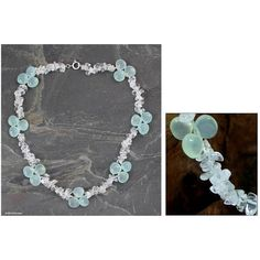 NOVICA Blue Ice Queen Quartz and Chalcedony Choker Necklace ($45) ❤ liked on Polyvore featuring jewelry, necklaces, chalcedony, choker, clear quartz jewelry, quartz necklace, blue jewelry, choker necklace and choker jewelry