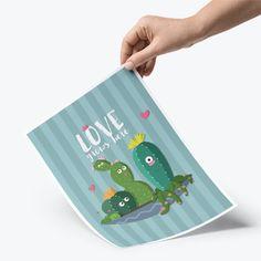 Lámina A4 · Cactus 'Love grows here'
