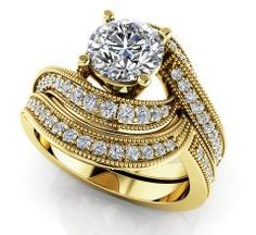 $3,150  -  MODERN WAVE STYLE BRIDAL SET 1.42 CARATS * EGL CERTIFIED * ROUND DIAMOND ON 14K SOLID YELLOW GOLD F 26 D http://www.amazon.com/dp/B00OU6TAT2/ref=cm_sw_r_pi_dp_PUNyub19HC6AE