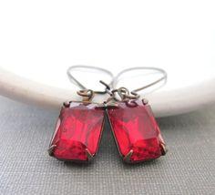 Ruby Red Earrings Rhinestone Earrings Vintage Glass by fiveforty, $20.00