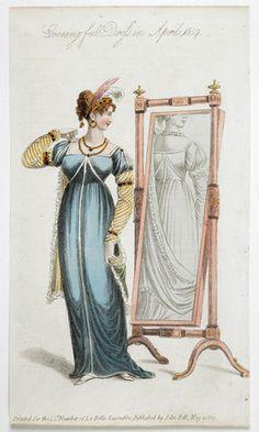 Woman in evening full dress : April 1809, La Belle Assemblee. MoL 004981
