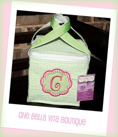 Personalized Seersucker Snack Square  Lime Green by OneBellaVita, $17.50