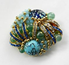 1970s spectacular Art Glass cabochons and rhinestones brooch - light and elegance -art.768/3- by RAKcreations on Etsy https://www.etsy.com/listing/110063418/1970s-spectacular-art-glass-cabochons