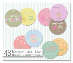 Printable Birthday Tags-Party Tags-Digital Gift Tags-Scrapbooking Tags-Birthday Gift Tags- Thank you Tags-Party Favor Tags-Instant Download Birthday Tags, Birthday Wishes Quotes, Birthday Gifts, Party Favor Tags, Gift Tags, Party Favors, Baby Announcement Cards, Realtor Gifts, Thank You Tags