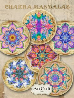2.5 inch size Spiritual images CHAKRA MANDALAS Digital by ArtCult