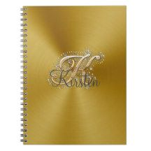 Silver elegant monogram K Notebook