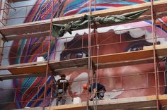 Mural painting in Budapest