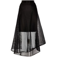 Coast Elin Mesh High Low Skirt, Black (500 RON) ❤ liked on Polyvore featuring skirts, short front long back skirt, high low skirt, dip hem skirt, mullet skirts and flared skirt