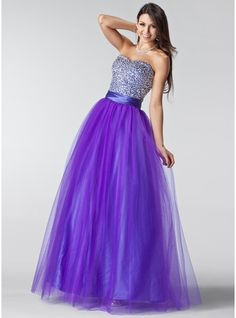 A-Line/Princess Sweetheart Floor-Length Tulle Charmeuse Prom Dress With Ruffle Beading Sequins