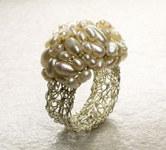 Crochet Sterling Silver Wire Ring with Freshwater Pearls