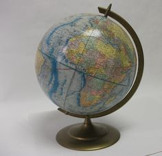 Vintage World Globe Earth Profile by coffeehousevintage on Etsy