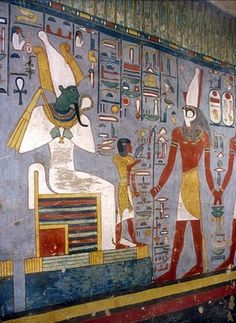 Luxor / Tebes; Vall dels Reis, KV 16 - Ramsés I   Osiris i el sacerdot Iwnmutef ser abordat per Horus Ramsès I acompanya (mà de Ramsès I és tot just visible)