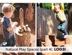Natural play spaces logs - challenges fine and gross motor skills, grading of movements and balance