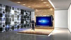 Simple exhibition style scene with large black and white walls, wood grain design. It suits conference, presentation, meeting and introduction type of TV programs really well. Virtual Studio, Studio Design, White Walls, Tvs, This Is Us, Studios, Black And White, Wood, Classic