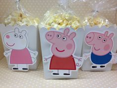 Adorable boxes can be used for popcorn, candy or other party favors for a very special birthday party! They can be made with all the designs shown