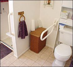 The Fold Down Grab Bar can be locked into a vertical position and out of the way for easy transfers from a wheelchair Grey Bathroom Vanity, Vanity Sink, Master Bathroom, Handicap Bathroom, Bathroom Renos, Bathroom Safety, Jack And Jill Bathroom, Grab Bars, Yellow Bathrooms