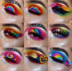 Crazy Eyeshadow, Crazy Eye Makeup, Rainbow Eye Makeup, Dramatic Eye Makeup, Creative Eye Makeup, Makeup Eye Looks, Colorful Eye Makeup, Eye Makeup Art, Eye Makeup Tips