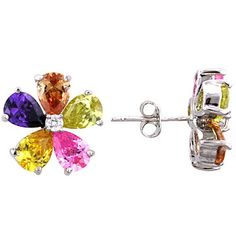 Jewelry Stud Earrings Silvertone Multicolor Cubic Zirconia and Crystal Flower $22.95