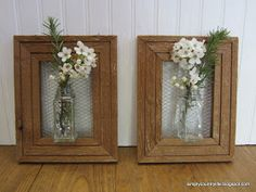 Simply Country Life: Upcycled Wood Frame Wall Flower Vase