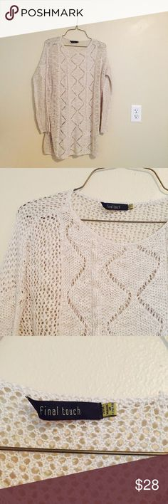 Beige Knit Sweater Brand new. Never worn. Beige tan natural color. Beautiful knit design. Tags says size S/M. Long length. Fits oversized. Final Touch Sweaters Crew & Scoop Necks