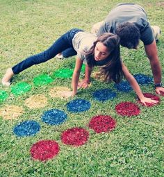 Backyard Twister. Spray paint the grass or put old clothes on and spill those paint cans for much messier fun! #datenightideas