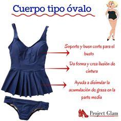 Si tu cuerpo es tipo óvalo te recomendamos un traje de baño como este. Estos modelos son tendencia este verano, y además nos ayudan a disimular la grasa acumulada en la cintura. No importa cual sea tu tipo de cuerpo, siempre podemos vernos bien, solo debemos aprender a vestirnos.