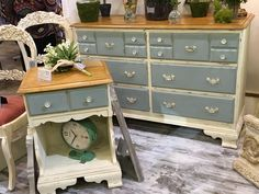 Just in at Frisco Mercantile's Chalk This Booth 213. Chalk painted with Annie Sloan's Old White and Egg Duck then clear waxed and distressed.