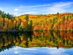 river fall foliage colored leaves st louis river wisconsin reflection daytime