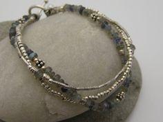 Labradorite and Silver Multistrand Bracelet by Hillborne on Etsy