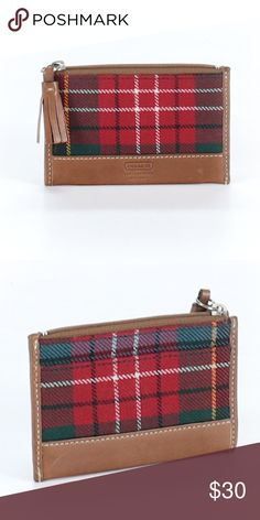 Coach red tartan plaid coin wallet Used once has brown leather and a tassel on the zipper Coach Bags Wallets