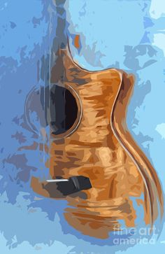 Acoustic Guitar Blue Background 1 Art Print by Drawspots Illustrations