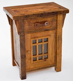 Our Barnwood Nightstand features one drawer and a cabinet with glass and handmade barn wood mullions in the door. Handcrafted from reclaimed barnwood, it boasts a unique rustic texture that can only be found from genuine reclaimed antique aged wood. Its solid wood handle is hand-made which promises quality and durability. Every piece we make