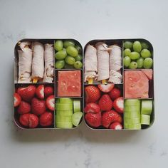 This spacious, stainless steel bento box features five compartments, making it easy for you to add variety to your child's meal. Lunch Meal Prep, Healthy Meal Prep, Healthy Snacks, Healthy Eating, Healthy Recipes, Detox Recipes, Snacks Recipes, Toddler Meals, Kids Meals