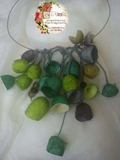 necklace with green silk cocoons