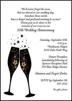 Shop from the top vote getter and most creative wedding 50th golden champaign anniversary party invitations designs currently discounted to 99¢ each with lots of anniversary wordings samples and oh so many more party invites at http://www.cardsshoppe.com/50th-golden-wedding-anniversary.htm