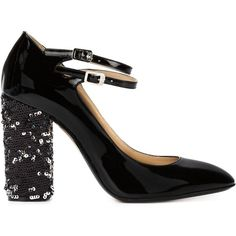 Nº21 sequin heel pumps ($575) ❤ liked on Polyvore featuring shoes, pumps, heels, black, patent leather shoes, black pumps, kohl shoes, black patent shoes and black patent leather shoes