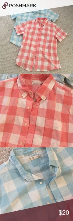 Bundle on men's summer button up Only worn once each, like new condition but wrinkly cause have been sitting in my closet. Summer blue and red checkered colors. Both 100% cotton and size large Sonoma Shirts