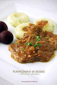Karkówka w sosie z kluskami śląskimi Lunch Recipes, Keto Recipes, Breakfast Recipes, Dinner Recipes, Polish Recipes, Polish Food, Food Inspiration, Love Food, Main Dishes