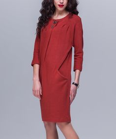 This Terracotta Button-Accent Side-Pocket Dress is perfect! #zulilyfinds