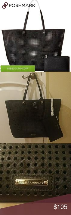 Rebecca Minkoff  Black Perforated Tote Bag NWT comes with small cosmetic bag attached. Rebecca Minkoff Bags Totes