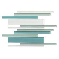 American Olean Color Appeal Glass Blends - C128 Sea Pearl Blend - Random Interlocking Linear Glass Tile Mosaic - Glossy Backsplash 714.00