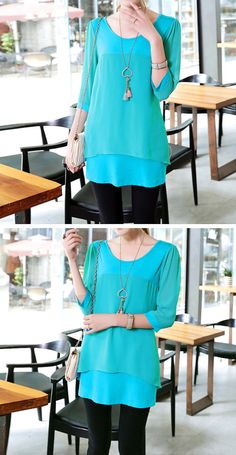 Joint Chiffon Loose Dress Casual Cotton Tshirt Spring by PlusDress, $47.30