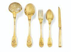 78 pieces A FRENCH SILVER-GILT DESSERT FLATWARE, FRANÇOIS-DOMINIQUE NAUDIN, PARIS, 1809-1819, ENGRAVED WITH COAT-OF-ARMS