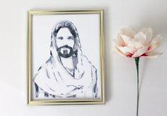 Watercolor Christ Portrait// 8x10 Christ by HelloLovelybyCourt