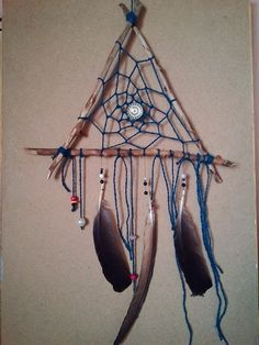 Dream catcher #triangle #plumage #style #dreamcatcher #dreaming #love #blue