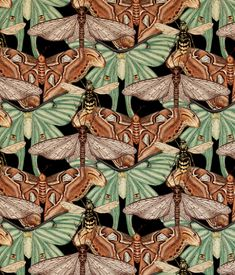 My Owl Barn: Wallpapers, Patterns and Prints by Katie Scott Surface Pattern Design, Pattern Art, Textures Patterns, Print Patterns, Design Patterns, Butterfly Artwork, Freelance Illustrator, Art Nouveau, Botanical Illustration