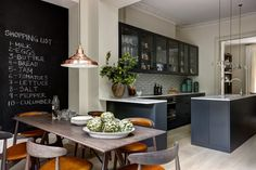 Helen Green Design  Chelsea Townhouse.  Very simple (almost Shaker) black cabinet details
