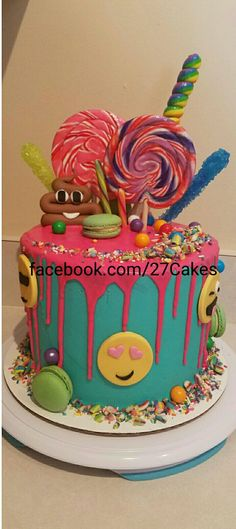 New Birthday Girl Cake Ideas Birthday Cake With Photo, Birthday Cake Pictures, 40th Birthday Cakes, Birthday Candy, 10th Birthday Parties, Girl Birthday, Birthday Cake Emoji, 13th Birthday, Birthday Ideas